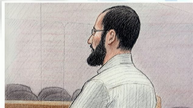 Artist rendering of Hiva Alizadeh in court.  Having served four years of a 24 year sentence, he had siad he was a changed man, but the federal government has initiated the first action under a new law to revoke citizenship for convicted terrorists, espionage,, ar those who join terrorist organizations abroad.