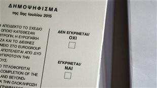 Un bulletin de vote du référendum grec.  Non (OXI) ou oui (NAI).