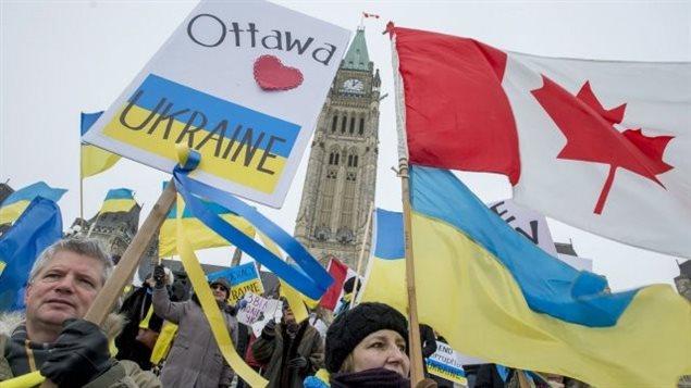 Manifestation dans la capitale canadienne le 29 janvier 2014 en geste de solidarité avec les protestataires ukrainiens.