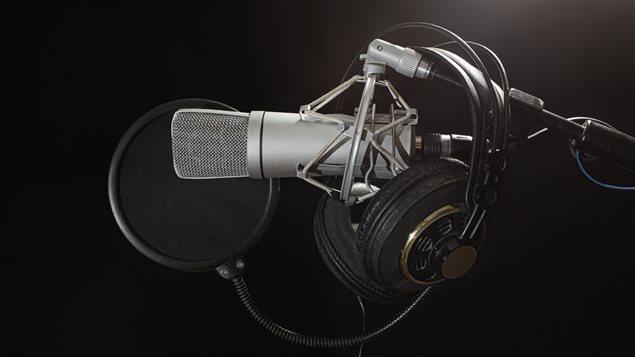 Un micro de radio.