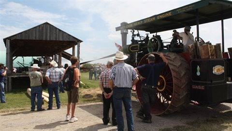 The museum's working steam tractor powers a sawmill at the museum, another aspect to farm life of long ago