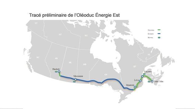 Tracé préliminaire de l'oléoduc Énergie Est