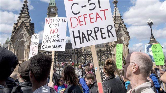 Manifestation à Ottawa contre le projet de loi C-51 en avril dernier