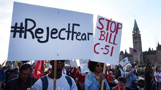 Rallies were held across Canada this spring to protest against the Conservative government's Anti-Terrorism Law. Now two groups have launched a court challenge, arguing C-51 violates Canada's Charter of Rights and Freedoms.