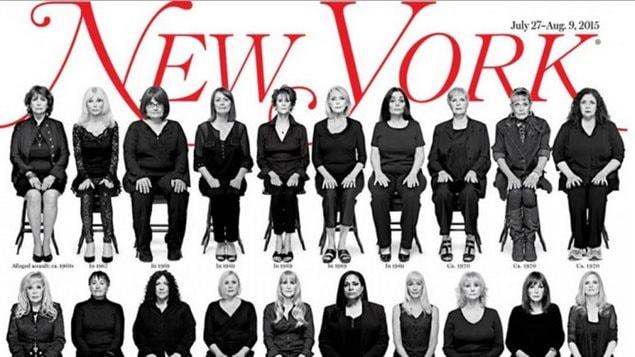 La une du New York Magazine, présentant les portraits de 35 femmes qui disent avoir été victimes d'agression sexuelle de la part de Bill Cosby
