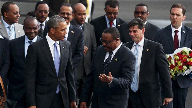 Obama a su llegada a Etiopía.