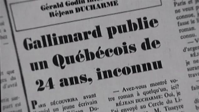 Un texto del poeta Gérald Godin sobre la emergencia del novelista quebequense Réjean Ducharme
