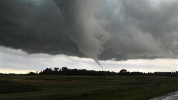 Sean Schofer tweeted this photo of a tornado north of Edward, Manitoba.