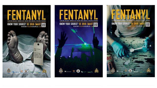 Affiches de la campagne de sensibilisation contre le fentanyl lancée par la Colombie-Britannique.