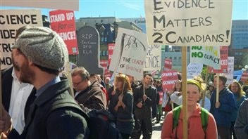 On several occasions, scientists and activists protested the attitude towards science of the former Conservative government.