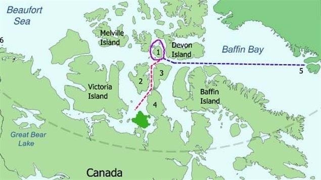 L'endroit où s'est échoué l'expédition Franklin dans le Grand Nord du Canada. © © Wikimedia commons
