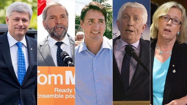 Les chefs des partis : Stephen Harper, conservateur, Thomas Mulcair, NPD,  Justin Trudeu, libéral, Gilles Duceppe, Bloc Québéquois, Elizabeth May, vert.