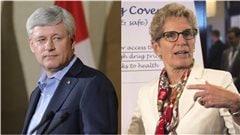 Le chef conservateur Stephen Harper et la premi�re ministre lib�rale de l'Ontario, Kathleen Wynne