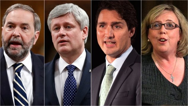Thomas Mulcair, Stephen Harper, Justin Trudeau et Elizabeth May