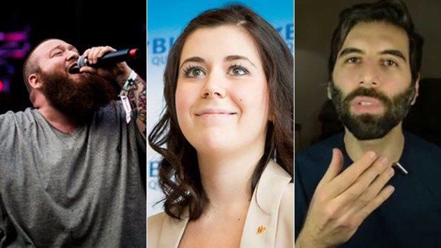 Le rappeur américain Action Bronson, la candidate du Bloc québécois Catherine Fournier et le blogguer Roosh V