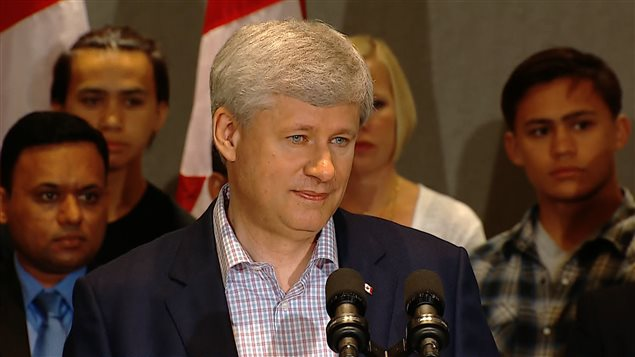 Stephen Harper a attaqué Kathleen Wynne lors d'un point de presse tenu à Markham, au nord de Toronto.