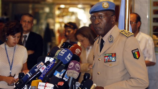 General Babacar Gaye, seen here in Syria in August 2012, has resigned as head of the UN peacekeeping mission in Central African Republic over his handling of sexual and other misconduct allegations.
