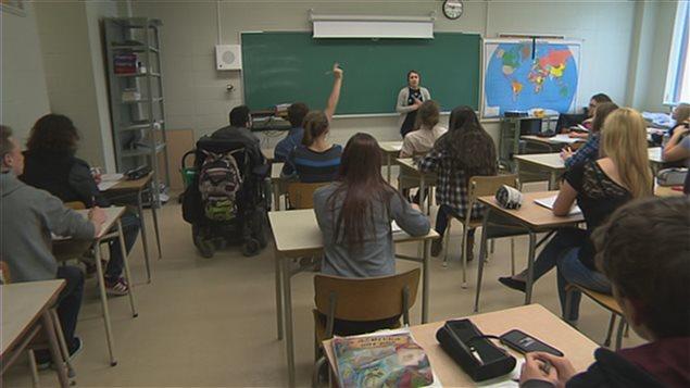 Une salle de classe du secondaire à Sherbrooke.