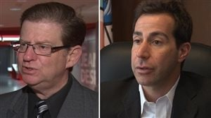 Conservative candidate Robert Libman, left, and Liberal nominee Anthony Housefather are both long-time activists in the English rights movement in Quebec. Both are seen in closeup answering questions. Libeman wears a tie and glasses. His hair is well-oiled. Housefather is without a tie in a dark suit. While Libman's eyebrows are down, Housefather's are arched.