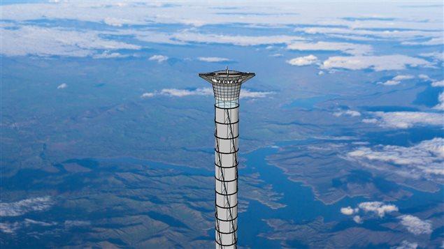 La partie supérieure de l'ascenseur spatial récemment breveté par Thoth technologie de Pembroke, en Ontario est présentée dans ce concept d'artiste. (Toth Technologie /Presse canadienne)