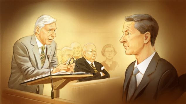 In this artist's sketch, Donald Bayne, left, lawyer for former Conservative senator Mike Duffy, centre, cross examines Nigel Wright, at Duffy's trial in Ottawa. We see Bayne, a large man with grey hair leaning in at a podium in a light suit as Wright, dressed in a dark suit, sits listening in the witness box. Duffy, chubby and balding in a dark suit sits between them his arms crossed.