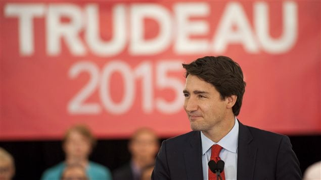Le chef du PLC, Justin Trudeau, le 13 août 2015 à Saskatoon