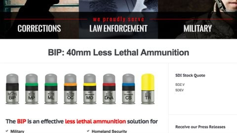 SDI markets a number of variations on its BIP range including bullets that in addition to the non-lethal impact can also mark suspects with invisible DNA markeral, visible paint, horrible smells and others.