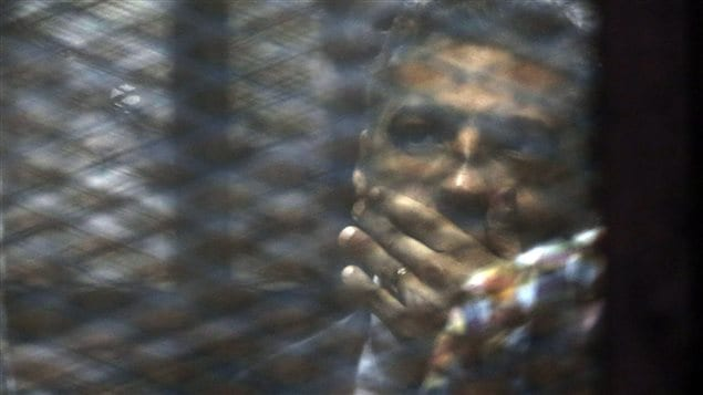 Canadian journalist Mohammed Fahmy listened to his sentence of three years on August 29, 2015 before being returned to Scorpion Prison in Egypt.