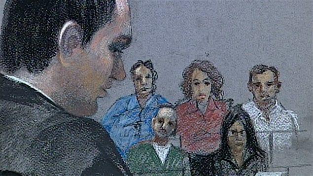 Dessin de cour montrant Guy Turcotte devant le jury à son procès, en 2011