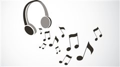 Un casque d'écoute et des notes de musique.