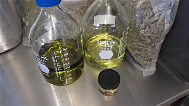 De l'huile et des sacs contenant de la marijuana thérapeutique.