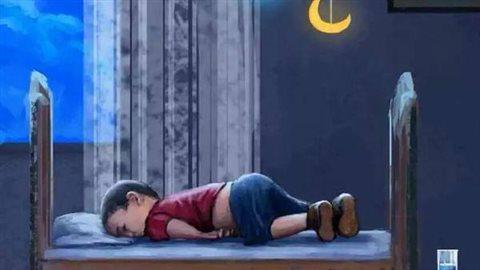 La photo a inspiré de nombreux dessins qui ont ciruclé sur le web, dont celui-ci, publié sur la page Save Kobane sur Facebook.