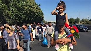 Des migrants marchent à travers la Hongrie pour se rendre en Autriche.