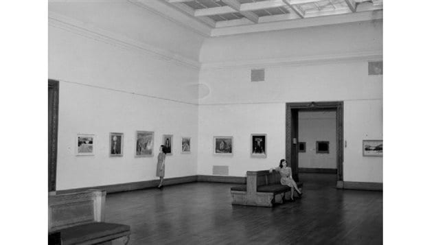 An interior shot of one of the high cieling glalleries in the art museum. Theives entered through a disarmed skylight, and slid down a rope to the inside