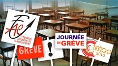 Des pancartes de grève de la Fédération autonome de l'enseignement