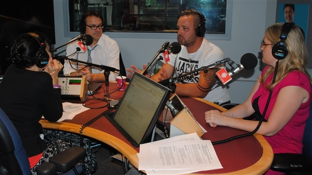 Claude Legault, Jonathan Plante, Geneviève Trudel porte-parole de la CSST et Catherine Lachaussée