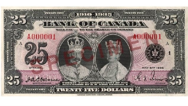 A commemorative $25 note bearing the date 6 May 1935 was issued in honour of the Silver Jubilee of King George V. Similar to the 1935 series, this denomination was available in either French or English. No other $25 denominations have been issued.