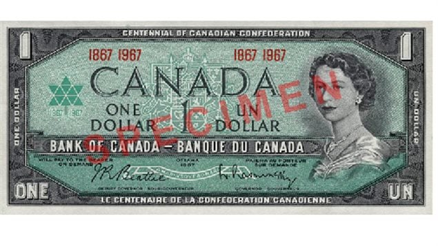 In honour of the 100th anniversary of Confederation, a modified version of the 1954 $1 note was issued, bearing the date 1967. The centennial logo was added to the front of the note and a view of Canada's original Parliament Buildings, destroyed by fire in 1916, was substituted for the prairie landscape that appeared on the original 1954 $1 note. A second version of this commemorative note, featuring the dates 1867–1967 in place of the serial numbers, was also issued.