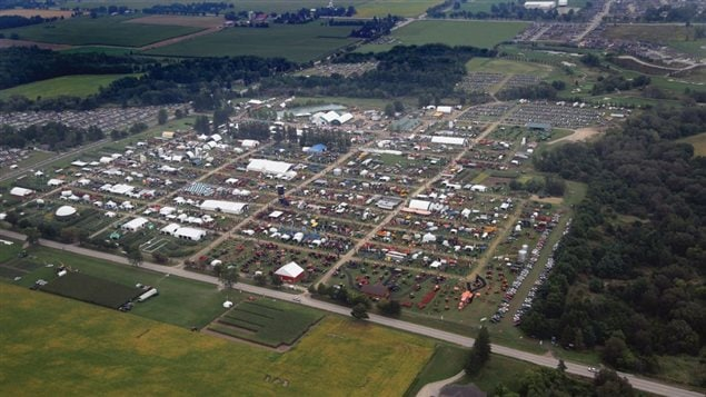 Aerial view of the permanent site of Canada's Outdoor Farm Show. it is the biggest outdoor farming trade show in Canada, and the fifth biggest in North America