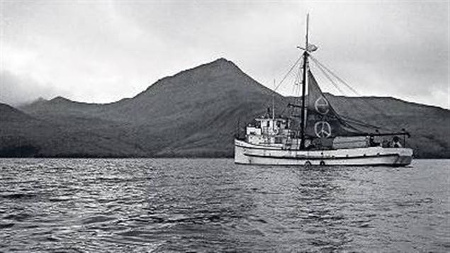 The Phyliss Cormack/Greenpeace in Alaskan waters. It would be turned back by the US Coast Guard before reaching its goal of Anchitka Island, but the media interest brought enough pressure that the US stopped its nuclear testing.