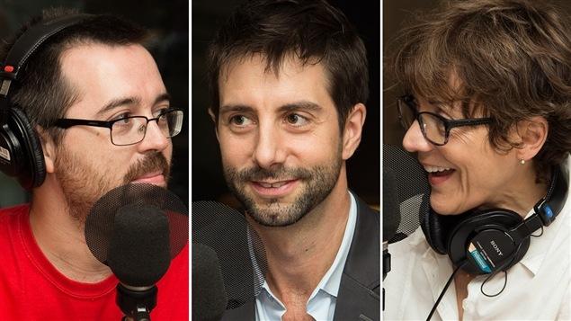 Mathieu Charlebois, blogueur à <i>L'actualité</i>, François Cardinal, chroniqueur à <i>La Presse</i> et Francine Pelletier, journaliste au <i>Devoir</i>