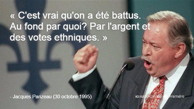 Le premier ministre du Québec, Jacques Parizeau, lors de son discours le soir du référendum sur la souvereaineté.
