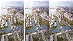 Les trois tracés proposés de l'autoroute Gardiner
