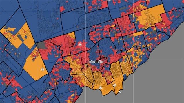 Carte des circonscriptions en Ontario