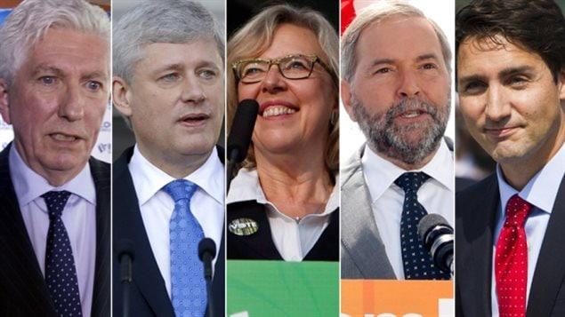 Gilles Duceppe (BQ), Stephen Harper (PCC), Elizabeth May (PVC), Thomas Mulcair (NPD) et Justin Trudeau (PLC)