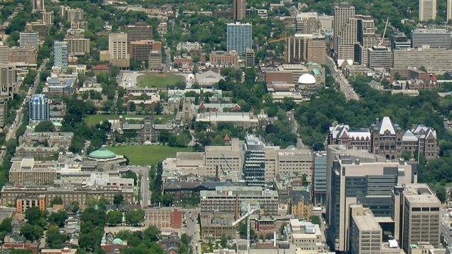 University of Toronto and research hospitals in downtown Toronto, veiwed from the CN Tower