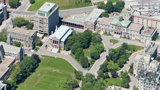 Aerial view showing much of the McGill main campus in downtown Montreal