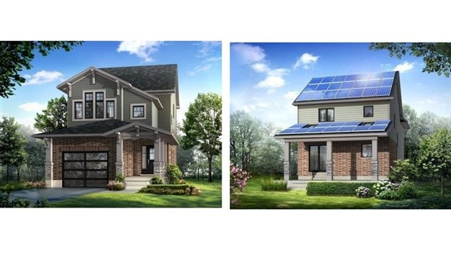 """Reid's Heritage Homes - artist concept of the ""net-zero"" house being built in Guelph, Ontario. Solar panels on rear roof provide electricity roughly equal to consumption within the super efficient house."""