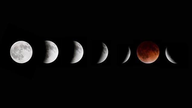 Voici différentes étapes lors d'une éclipse lunaire