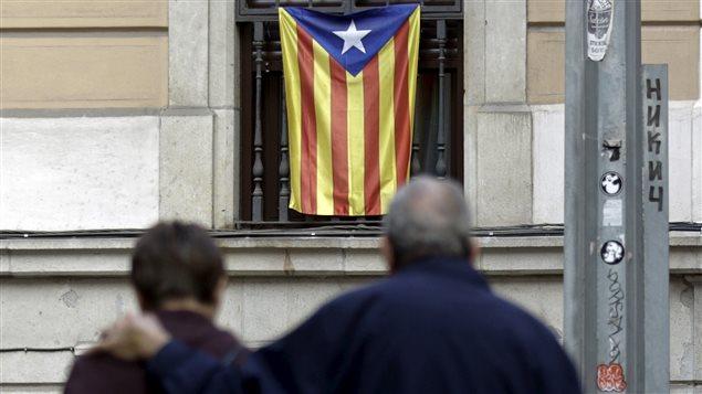 Un drapeau catalan à Barcelone